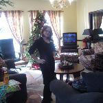 Brandi cleaning the lobby !