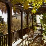 A veranda with a view of the Alhambra