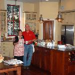 Peggy and Monta Burt in the kitchen, coffee time.
