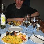 Great seafood paella washed down with El Grifo dry white wine