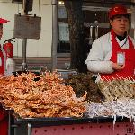 Close up of seafood, stalls in front of Hua Fu International Hotel, Beijing