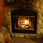 Wood fireplace in cabin-Jan, 2008