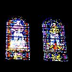 Stained Glass Window with Miner and Lumberjack