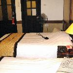 """Hanoi Old Quarter Hotel """"Twin Suite"""" view from window - note door with glass panels"""