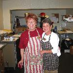 two lovely ladies cooks breakfast every morning