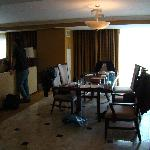 Eating area in suite (the mess is ours!)