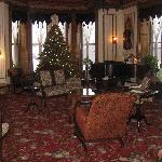 Beautiful parlor decorated for Christmas.