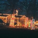 Christmas lights at Woolaroc Lodge.