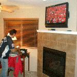 37 inch lcd, gas fireplace, desk