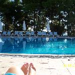 Lovely pool at Nostos. Sorry about the toes.