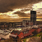 swansea marina - meridian quay tower and the mumbles in background