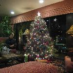 The lobby was decorated for Christmas