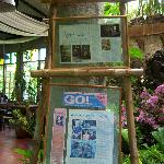 Newspaper & magazine reviews proudly displayed