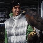 Alex with Bella, a hawk