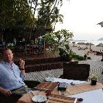 Enjoying a pre-dinner cigar at the Amata during sunset