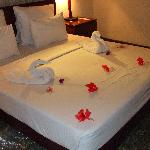 Example of flower arrangements on bed