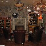 fireplace and wine bar area