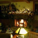 The main floor fireplace