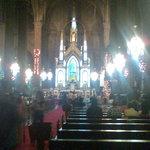 The altar of San Sebastian church during Christmas Season