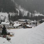 View from chalet to ski school