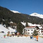 View from ski school to chalet