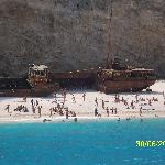 The ship wreck on the day cruise with cold sea