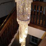 Crystal Chandelier on Back Stairs