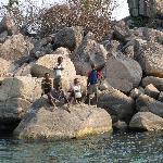 Kids on a random rock!
