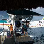 Unloading the baggage after landing at Malolo