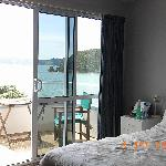 View from bedroom to balcony for breathtaking Bay.