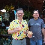 Jerry and Luis drinking fresh coconut milk