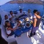 Lunch on Blue Lagoon Santorini