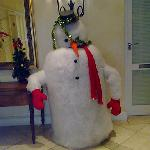 Cool snowman hotel had in the lobby!