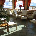 Hotel lounge, with great mountain backdrop