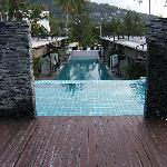 1 of 2 rooftop pools @ studio rooms & 2 slate waterfalls that sheer 5m down slate wall 2 main po