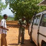 Geoffrey and Gambo with safari van