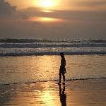 beach as the sun goes down