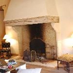 The huge fireplace in the Lounge of Chateau de Forges