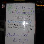 welcome sign and specials