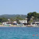 Es Cana beach view from boat