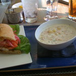 Blue Plate Special of the day- Fish sandwich with clam chowder