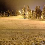 Floodlit slopes near the Ski Bistro