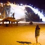 The red runs on the frontside slopes at night.