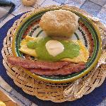 Main dish with homemade bread