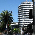Hollywood & Vine, less than a mile north of hotel, with famous Capitol Records and Hollywood Sig