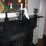 fireplace + champagne + rose