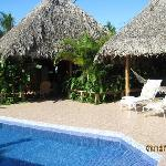 Pool with dining/bar under thatched roof