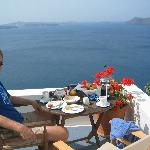 Breakfast at our apartment in santorini
