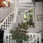 staircase- all decked out for Christmas