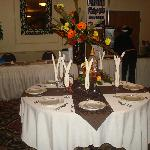 banquet table at reception